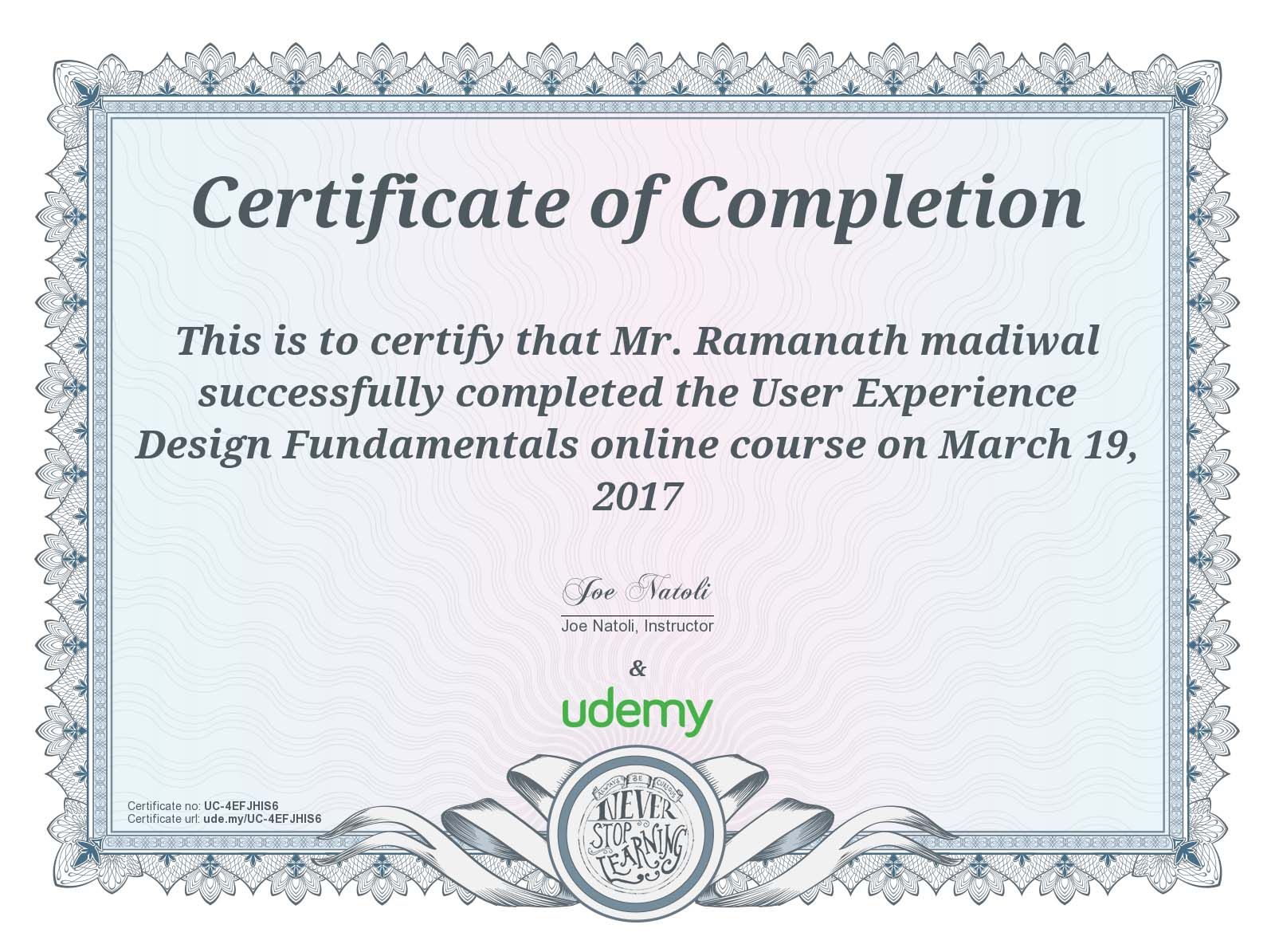 UX/UI Fundamentals certificates
